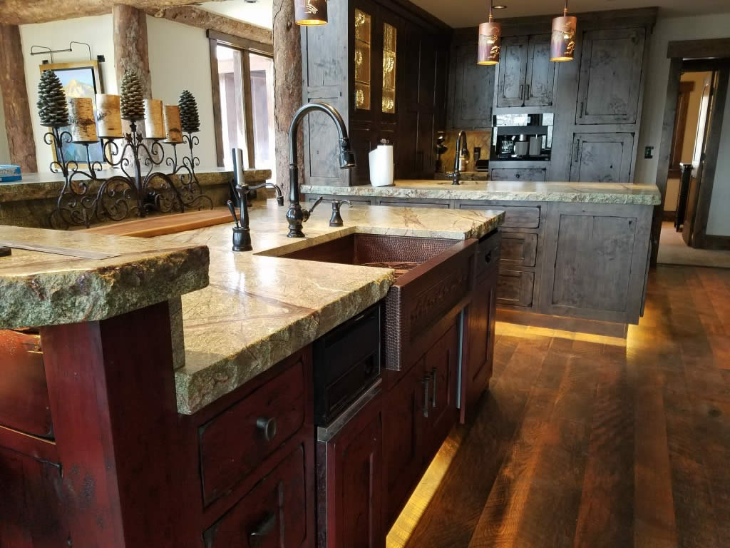 Mountain living magazine 2018 top architects designers interior sink area western custom classic kitchen interior visions crested butte sisterspd